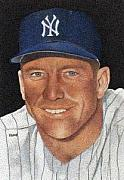 Baseball Poster Paintings - Mickey Mantle by Rob Payne