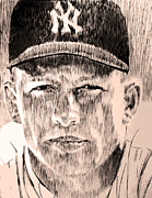 Yankees Drawings Framed Prints - Mickey Mantle Framed Print by Robbi  Musser