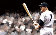 Yankees Prints - Mickey Mantle Signed Prints available at laartwork.com Coupon Code KODAK Print by Leon Jimenez