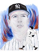 New York Yankees Paintings - Mickey Mantle by Steve Ramer