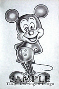 Cartoon Characters Drawings - Mickey by Rick Hill