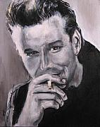 James Dean Drawings Posters - Mickey Rourke Poster by Eric Dee