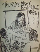 Night Cafe Drawings Prints - Micole at Thursday Night Ramble  Print by James  Christiansen