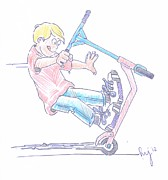 Tricks Mixed Media Prints - Micro Scooter Wheelie Cartoon Print by Mike Jory