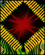 Microprocessor Posters - Microchip And Laser Pattern Poster by Pasieka