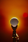 Microphone Stand Prints - Microphone At A Concert Print by Henrik Sorensen