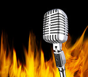 Microphone Photos - Microphone In The Fire by Gualtiero Boffi