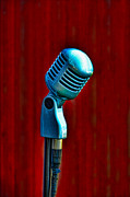 Red Background Prints - Microphone Print by Jill Battaglia