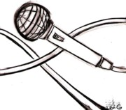 Hip Drawings - Microphone by Levi Glassrock