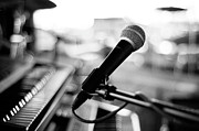 Black And White Photography Metal Prints - Microphone On Empty Stage Metal Print by Image By Randymsantaana