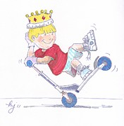 Tricks Mixed Media Prints - Microscooter Cartoon Print by Mike Jory