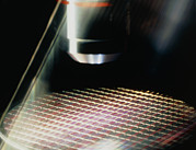 Integrated Framed Prints - Microscope Inspection Of A Processed Silicon Wafer Framed Print by Pasieka