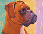 Boxer Painting Prints - Mid Century Modern Boxer Dog Print by Shawn Shea