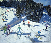 Ski Painting Metal Prints - Mid-morning on the Piste Metal Print by Andrew Macara