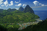 Volcanoes Prints - Midday- Pitons- St Lucia Print by Chester Williams
