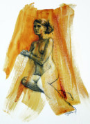 Nudes Drawings Prints - Midday Regrets Print by Peggi Habets