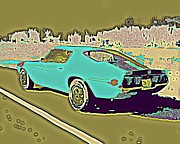 Street Rod Paintings - Middle Aged Crazy Two Aqua and Olive by Sheri Parris
