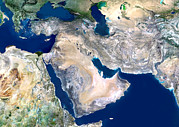Gulf Images Posters - Middle East, Satellite Image Poster by Planetobserver