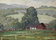 Berkshire Hills Posters Paintings - Middle Farm by Len Stomski