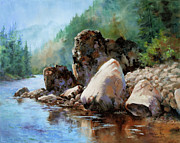 Salmon Painting Posters - Middle Fork Salmon River Poster by Michele Thorp