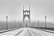 Black And White Photography Metal Prints - Middle Of Bridge Metal Print by Chad Latta