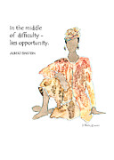 Humorous Greeting Cards Painting Prints - Middle of difficulty - Multicultural - Inspirational Print by Karen Bailey