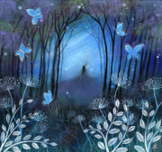 Indigo Painting Prints - Midnight Print by Amanda Clark