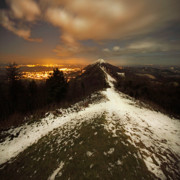 Winter Night Prints - Midnight At Malvern Hills Print by Angel  Tarantella