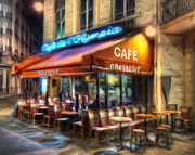 Brasserie Paintings - Midnight at the Brasserie by Dominic Piperata