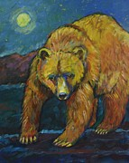 Grizzly Bear Paintings - Midnight Bear Grizzly Bear by Carol Suzanne Niebuhr