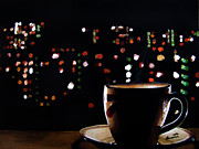 Black Background Paintings - Midnight Brew by Kayleigh Semeniuk