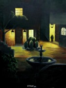 Italian Landscapes Paintings - Midnight Courtyard by Travis  Ragan