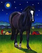 Full Moon Paintings - Midnight Horse by Stacey Neumiller