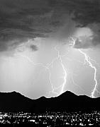 Lightning Prints - Midnight Hour Black and White Print by James Bo Insogna