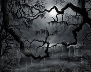 Creepy Painting Acrylic Prints - Midnight in the Graveyard II Acrylic Print by James Christopher Hill