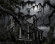Haunted House Paintings - Midnight in the House by James Christopher Hill