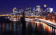 Brooklyn Bridge Posters - Midnight in the Shadow of Brooklyn Bridge - Brooklyn Bridge Poster by Lee Dos Santos