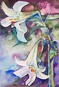 Water Colour Painting Originals - Midnight Lilies by Kate Bedell