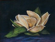 Flower Still Life Prints Prints - Midnight Magnolia Print by Jane Landry  Read