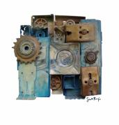 Gears Mixed Media Prints - Midnight Mechanism Print by Scott Rolfe