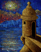 Caribbean Sea Paintings - Midnight Mirage in San Juan by Oscar Ortiz