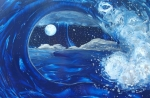Crashing Waves Paintings - Midnight Moon by Danita Cole