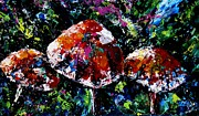 Forest Floor Paintings - Midnight Mushrooms by Joanne Abbott