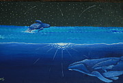 Whales Paintings - Midnight by Nick Flavin