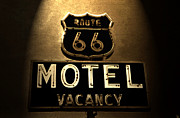 Motel Art Posters - Midnight on 66 Poster by David Lee Thompson