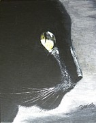 Prowler Painting Metal Prints - Midnight Prowler Metal Print by Denise Hills