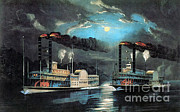 Moonlit Night Prints - Midnight Race On The Mississippi, 1854 Print by Photo Researchers
