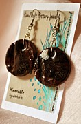 Whimsical Art Ceramics - Midnight Ruby Earrings by Amanda  Sanford