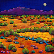 Hills Painting Prints - Midnight Sagebrush Print by Johnathan Harris