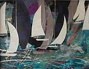 Abstracted Mixed Media Prints - Midnight Sail Print by Ernestine Vicari Stafford